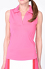 Golftini Hot Pink Sleeveless Polo with Mesh Collar - Size: M
