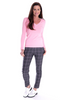Golftini Trophy Pull-On Stretch Twill Grey & Pink Plaid Golf Pants