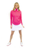 Golftini Hot Pink Contrast Quarter Zip Pullover