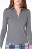 Golftini Long Sleeve Breathable Panel Zip Tech Polo - Grey