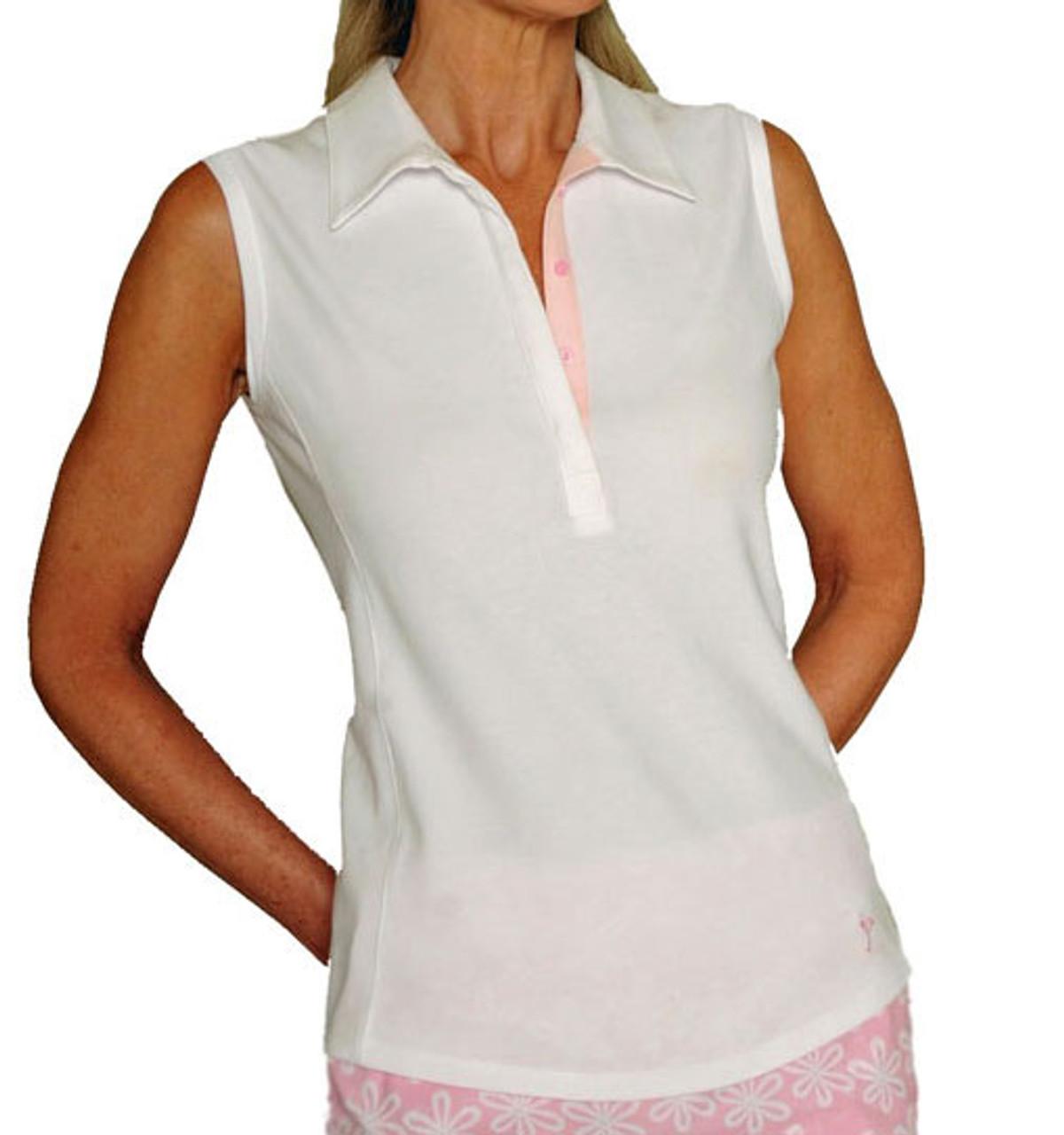 b4dc4f2f8 Golftini Cotton White Ladies Sleeveless Golf Polo Shirt with Light ...