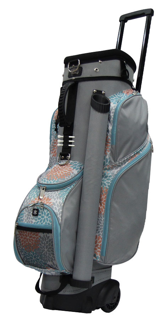 f3a3c9b453a3 RJ Sports Wheeled Grey   Coral Floral Women s Golf Bag