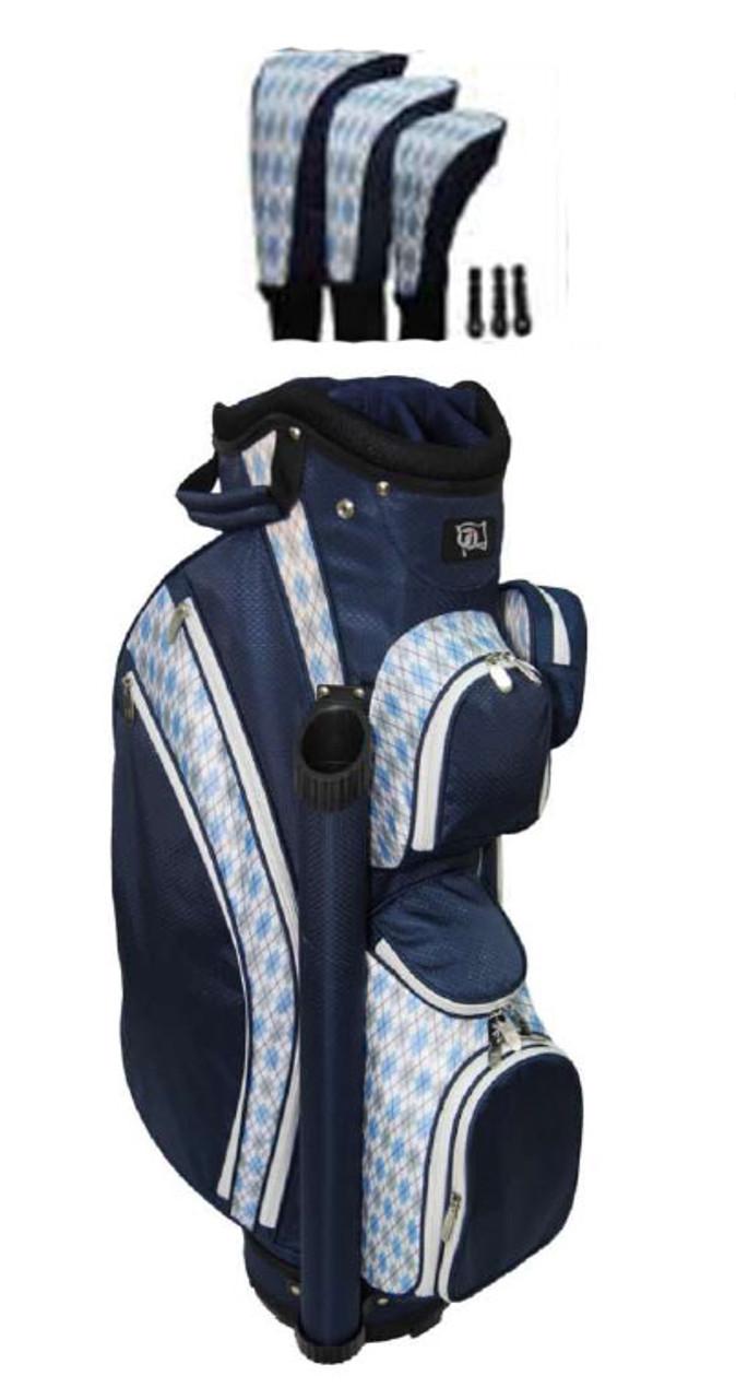 3559ed60ddf0 RJ Sports LB-960 Navy Argyle Ladies Golf Bag + Club Cover Set