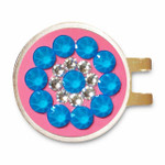 Blingo Electric Blue on Pink Ladies Golf Ball Marker