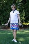 Birdies & Bows Lob Shot White/Navy Ladies Golf Polo
