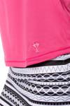 Golftini Long Sleeve Mesh Trim Top - Hot Pink