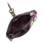 Sydney Love Olive Camouflage Clip On Accessory Pouch's Interior fully lined with signature Sydney Love polka dot lining.