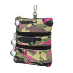 Sydney Love Olive Camouflage Clip On Accessory Pouch Top zip entry with golf ball zipper pull.
