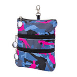 Sydney Love Blue Camouflage Clip On Accessory Pouch  has two outside zippered pockets with golf ball zipper pulls.