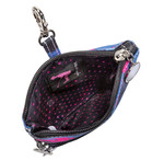 Sydney Love Blue Camouflage Clip On Accessory Pouch's interior is fully lined with signature Sydney Love polka dot lining.