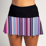 FestaSports Tread Lightly with Black top Flounce Skort  is fabulous for all activewear and running around town getting things done. The specialized FestaFit makes this skort a must have for function and comfort. Inner shorts have lower leg band to store balls during fierce tennis matches.
