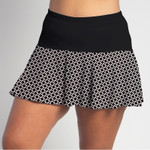FestaSports Black and White Circle with Black Top Flounce Skort  is fabulous for all activewear and running around town getting things done. The specialized FestaFit makes this skort a must have for function and comfort. Inner shorts have lower leg band to store balls during fierce tennis matches.