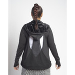 attached hood with eco-friendly faux fur lining.