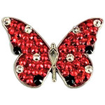 Bonjoc Red Butterfly Swarovski Crystal Ball Marker with Magnetic Hat Clip