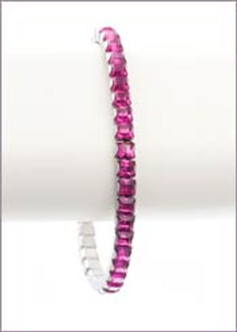 Bonjoc Fuschia Swarovski Crystal Stretch Golf Bracelet