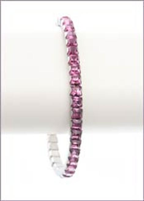 Bonjoc Light Rose Swarovski Crystal Stretch Golf Bracelet