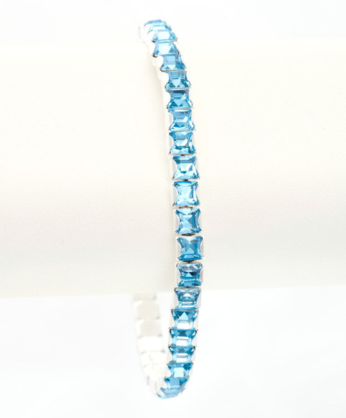 Bonjoc Aquamarine Swarovski Crystal Stretch Golf Bracelet