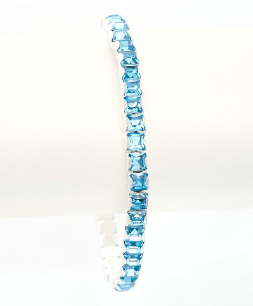 Bonjoc Aquamarine Swarovski Crystal Stretch Golf Bracelet