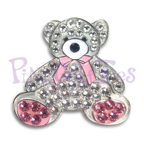 Sophie bear - Bonjoc Swarovski Crystal Golf Ball Marker Accessory with magnetic hat clip.  Handcrafted with 100% genuine Swarovski crystal.  Perfect for corporate gifts or tee prizes. Comes with carrying pouch.