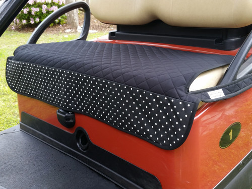 Quilted Black and White Polka Dot Cart Seat Cover