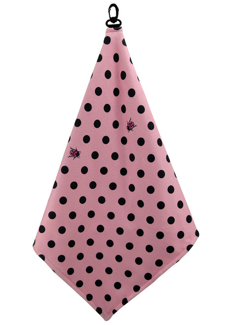 Beejo Pink with Black Polka Dots Dots Golf Towel
