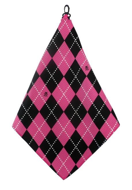 Beejo Hot Pink Argyle Golf Towel