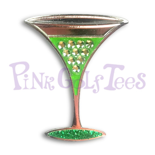 Appletini - Bonjoc Swarovski Crystal Golf Ball Marker Accessory with magnetic hat clip.  Handcrafted with 100% genuine Swarovski crystal.  Perfect for corporate gifts or tee prizes. Comes with carrying pouch.