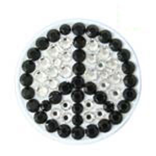 Bonjoc White Peace Sign Swarovski Crystal Ball Marker