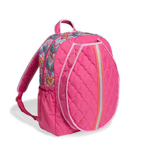 cinda b Calypso Tennis Backpack. The front racquet pocket holds up to 2 standard-sized racquets. Two side pockets keep water and tennis balls close at hand.  Its spacious interior includes 3 slip pockets and has plenty of room for a change of clothes, shoes and your cinda b accessories.