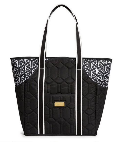The Cinda b jet Set Black Tennis Court Bag is a mix of fashionable and functional tennis tote bag that can hold two tennis racket and has spacious interior