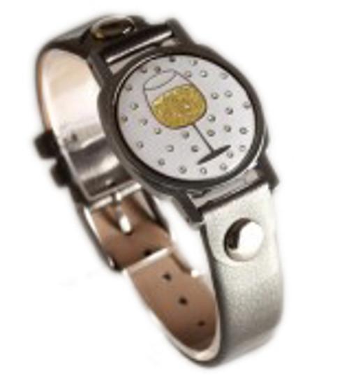 Wine Glass Ball Marker Bracelet with Grey Band