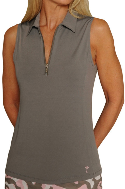 Golftini Grey Sleeveless Tech Polo
