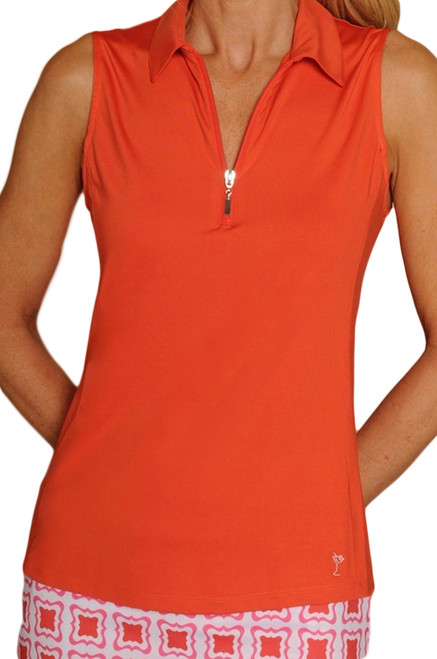 Golftini Orange Sleeveless Tech Polo