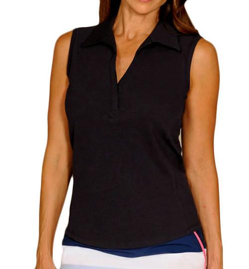 Golftini Classic Black Sleeveless Polo