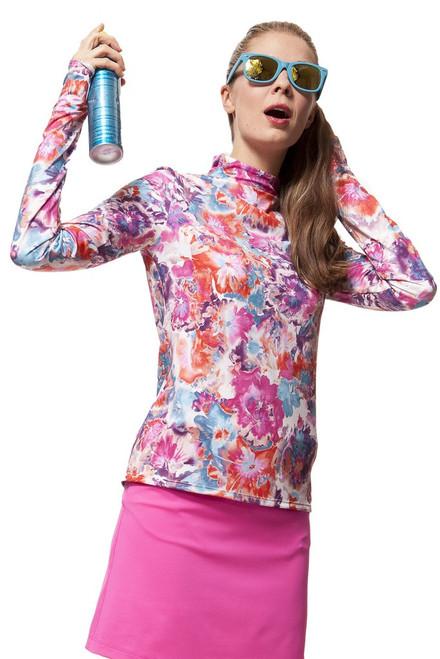 Mardi Gras Print UPF 50+ Ladies Golf Shirt