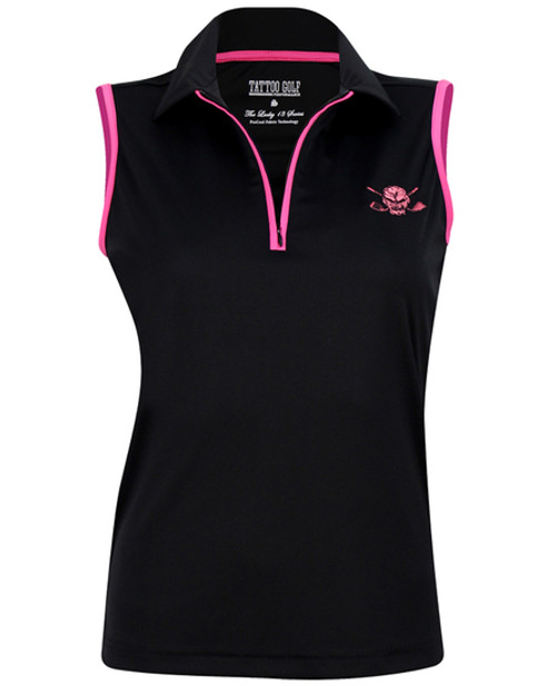 Tattoo Golf Pink Skull Sleeveless Ladies Golf Polo Shirt