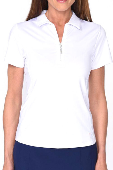 Golftini White Short Sleeve Zip Tech Polo (NEW!)