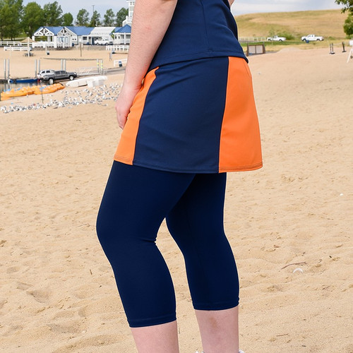 FestaSports Orange & Navy Slimming Panel Tennis Skort + Capris