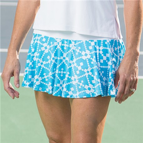 FestaSports Turquoise Geometric Flounce Tennis Skort