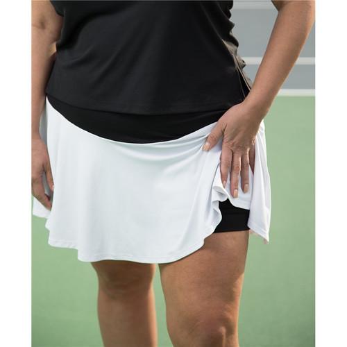 FestaSports White & Black Flounce Tennis Skort