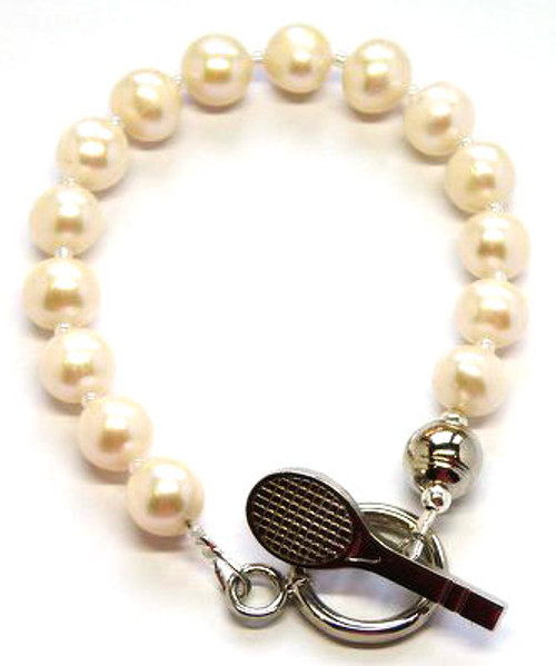 Sporty Chic Pearl Tennis Toggle Bracelet