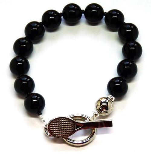 Sporty Chic Black Onyx Tennis Toggle Bracelet