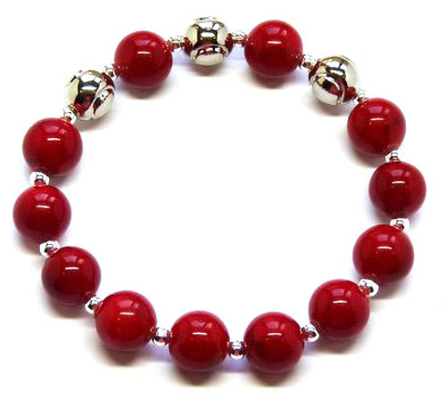 Sporty Chic Red Coral Tennis Bracelet