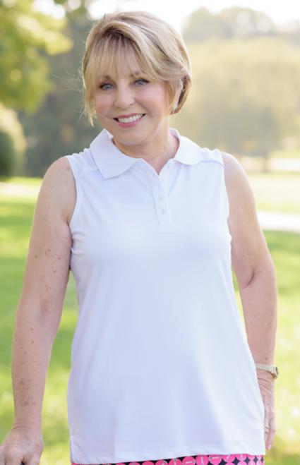 Birdies & Bows Eagle Putt White Sleeveless Ladies Golf Shirt