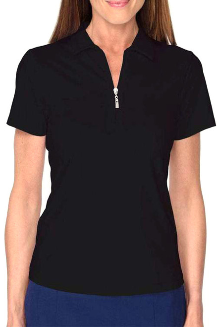 Golftini Black Short Sleeve Zip Tech Polo (NEW!)