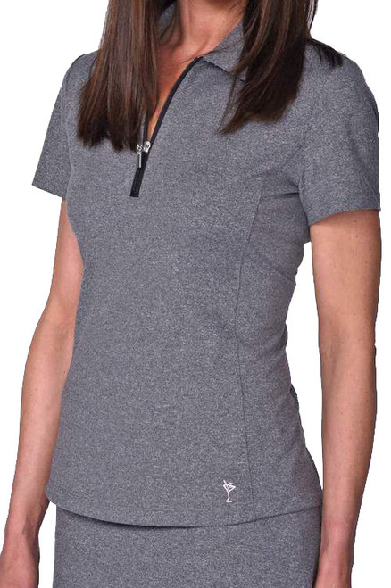 Golftini Heather Grey Short Sleeve Zip Tech Polo (NEW!)