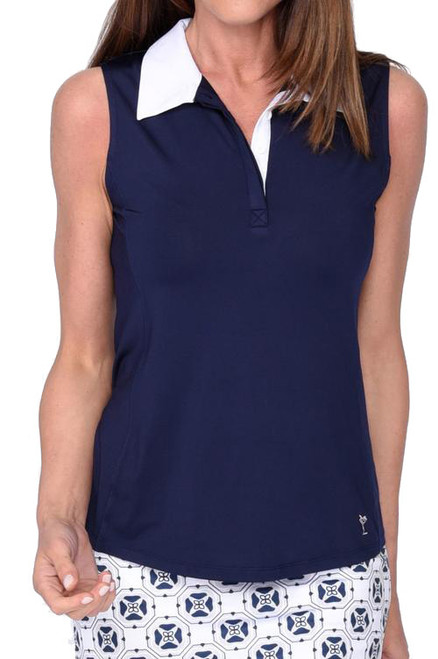 Golftini Contrast Navy Tech Polo