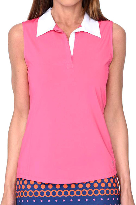 Golftini Contrast Hot Pink Tech Polo