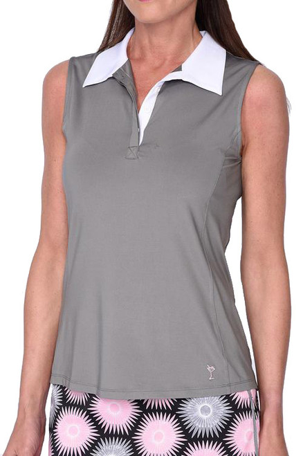 Golftini Contrast Grey Tech Polo