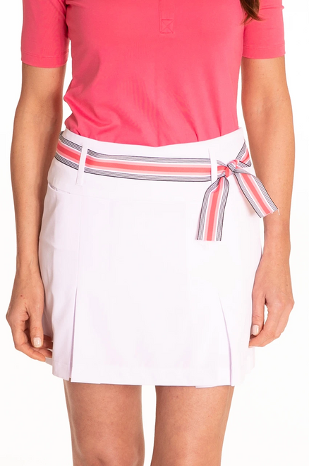 Golftini White Performance Pleat Golf Skort